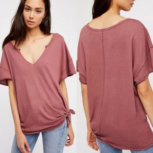 Free People Lilly Side Tie Oversized Tee Small